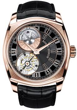 the flying tourbillon, the visible micro-rotor and the prestigious Poinçon de Genève quality hallmark